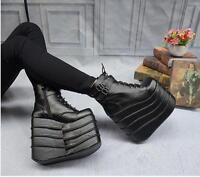 Womens Gothic Punk Wedge Heels Platform Lace Up Ankle Boots Shoes Pumps UK 2-9