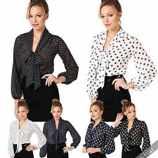 Hip Length Polyester Spotted Tops & Shirts for Women