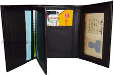 Man's wallet, Trifold Leather 9 card spaces 2 ID windows 2 billfolds New wallet