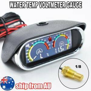 2 in 1 LCD Car Digital Horizontal Gauge Water Temp Voltmeter Temperature 12V/24V