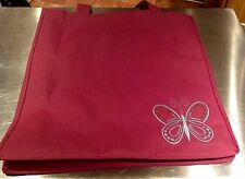 Pink Canvas Tote Bag With Blue Embroidered Butterfly Design