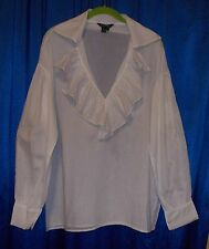 White cotton lawn pirate blouse ruffle 8 Small S gypsy peasant oversized