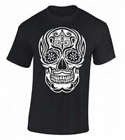 White Sugar Skull T-SHIRT Day Of Dead Dia De Los Muertos Death Gothic Tee Shirt