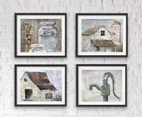 Rustic Farmhouse Wall Decor Set Of Prints Old barn paintings Impressionism