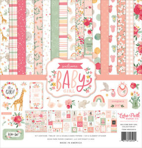 Echo Park Paper WELCOME BABY GIRL 12x12 Scrapbook Cardstock Collection Kit