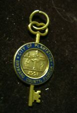"CITY of PLANTATION Broward County Florida Gold & Blue Enamel 1 1/4"" Key Pendant"