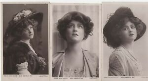 LOT OF 3 VINTAGE VICTORIAN ACTRESS,MOVIE STAR, POSTCARD,MISS GABRIELLE RAY,RP