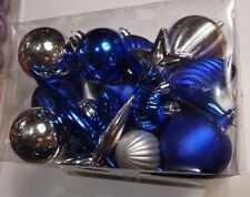 BLUE & SILVER ASSORTMENT OF SHATTER RESISTENT CHRISTMAS ORNAMENT DECORATION