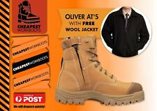 Oliver work boots 45632z AT's wheat lace zip sider Plus FREE wool blend jacket2X