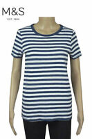 M&S Round Neck Cotton Short Sleeve White Navy Blue Striped T Shirt Top Tee 10 14