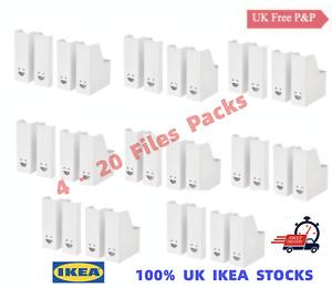 4-20 Pack IKEA FLUNS white Magazine File Holder Filing Storage Boxes Home Office