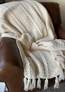 Vintage Handmade Cream Ivory Crochet Afghan Throw Blanket With Fringe BOHO Chic