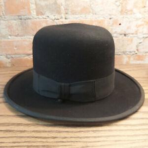 Authentic Fernandez y Roche Spain Jewish Hasidic Black Hat Fedora Kova NY 6 7/8