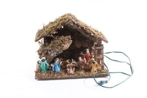 Old Nativity Scene With Light Stable Vintage Decor Christmas Julefest + Sound