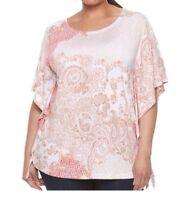 Croft & Barrow Women's T Shirt Dolman Elbow Sleeve Striped Plus 1X 2X 3X NWT