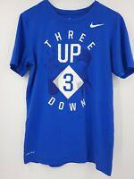 Nike Dri Fit Three Up 3 Down Blue Baseball T-Shirt Mens Size Small Athletic Cut