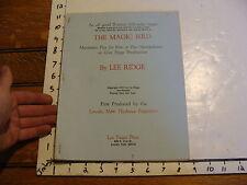 Vintage Puppet Marionette Play Script: THE MAGIC BIRD by LEE RIDGE