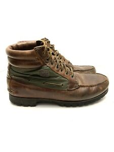 Timberland Leather Boots Brown/Green Men's Size 10 Vibram Soles
