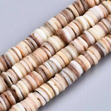 Natural Freshwater Shell Heishi Disc Beads Flat Round 8-9mm