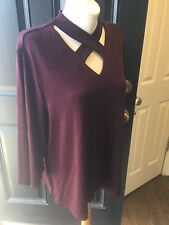 New RARE $89 Chico's Travelers Dark Mulberry Cross Front Top Sz 3 = XL 16 18 NWT
