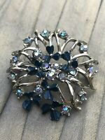 Garland Brooch Silver Tone Natural Rhinestone Blue Vintage Costume Jewellery