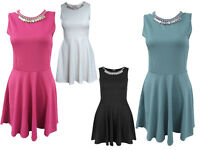 WOMENS LADIES SKATER DRESS DIAMANTE JEWEL NECKLACE SKATER MINI PARTY DRESS 8-14