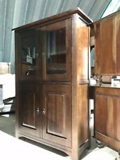 Dark Wood Glazed Display Cabinet Larder Linen Cupboard