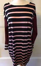 ANTIPODIUM London Black Pink Red Stripe Stretch Bodycon Long Sleeve Dress M