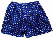 "Mens Thai Silk Boxer shorts / Underwear / 40""- 46"" / Blue with White Elephants"