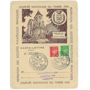 CARTE-LETTRE 12425 JOURNEE NATIONALE DU TIMBRE 1943 CHATILLON SUR SEINE 10 OCTOB