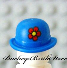NEW Lego Minifig BLUE BOWLER HAT w/Flower - Shriners Circus Clown Head Gear
