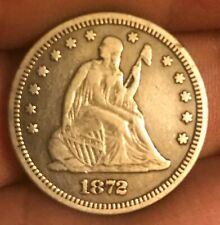 1872 Seated liberty quarter   , VF , scarce date