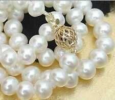 """8-9mm white AKOYA SALTWATER cultured pearl necklace 18"""""""