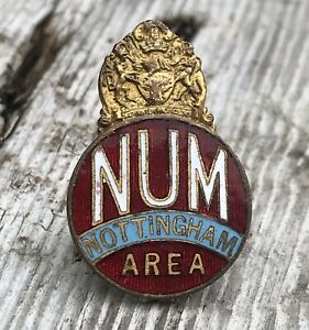 NATIONAL UNION OF MINEWORKERS (NUM) NOTTINGHAM AREA LAPEL ENAMEL BADGE MINERS