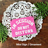DECO Mini SIGN  IN SESSION Do Not Disturb Fits over Doorknob PLAQUE Pink USA New