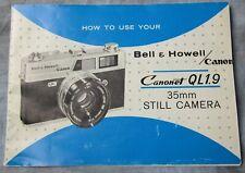New listing Original Bell & Howell / Canon Canonet Ql1.9 Film Camera Instruction Manual