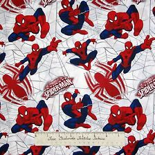 """Marvel Comic Fabric - Ultimate Spider-Man Webs White - Camelot Cottons 18"""""""