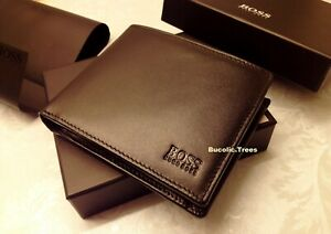 MENS HUGO BOSS 'ASOLO' BIFOLD BLACK LEATHER COIN WALLET BLACK GIFT BOXED