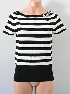 White House Black Market Jumper Sweater Size Small Black White Stripe Light Knit