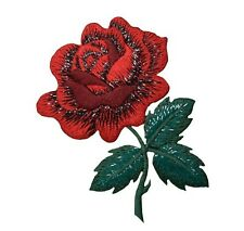 """3-1/8"""" Single Red Rose Green Leaves (Iron On Embroidered Patch)"""