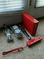 Red Nintendo Wii Video Game System Console Bundle Rvl-001 TESTED NICE