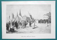 ARAB Festival Procession Desert - VICTORIAN Era Engraving Print