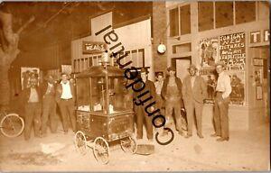 Real Photo 1913 Era Popcorn Wagon Outside Movie Theater Vaudeville RP RPPC D128