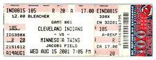 2001 Cleveland Indians Minnesota Twins 8/15 Ticket Lofton, Thome HRs ST1P