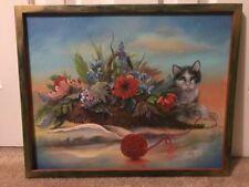 Vintage Cat, Flowers & Yarn Oil Painting on Canvas Miriam Landau NJ Artist