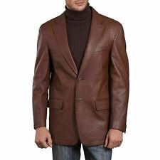 NOORA Brown Leather Blazer Men Pure Lambskin Coat Jacket 2 Button Size S- XXL