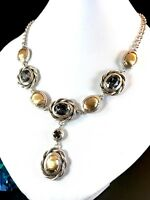 NIB BRIGHTON SILVER PLATED HAMMERED GOLD SWAROVSKI GREY CRYSTAL RADIANT NECKLACE