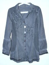 PIRO Klaus Berggreen Button Down Blouse Shirt Gray Color Size M Made In Italy