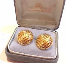 B A BALLOU 14KT GOLD PIERCED BUTTON STYLE  EARRINGS.. MINT / UNIQUE