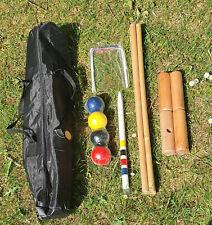 4 Player Wooden Croquet Set Travel Bag Outdoor Family Fun Garden Park Kids Adult